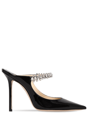 100mm Bing Crystals Patent Leather Mules