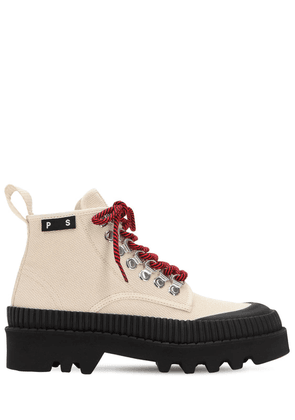 30mm Cotton Canvas Hiking Boots