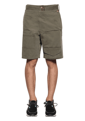 Folded Front Cotton Shorts W/ Belt
