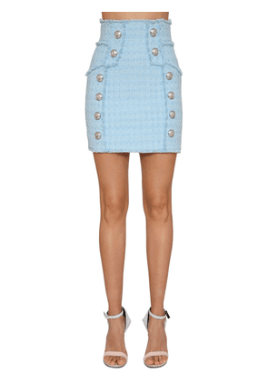 High Waist Cotton Blend Tweed Mini Skirt
