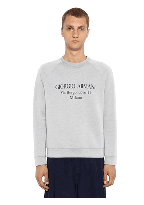 Address Print Cotton Sweatshirt
