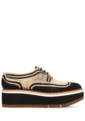 55mm Acajou Raffia Lace-up Shoes