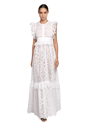 Lace & Poplin Long Dress W/ Ruffles