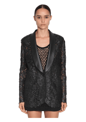 Waxed Lace & Faux Leather Blazer