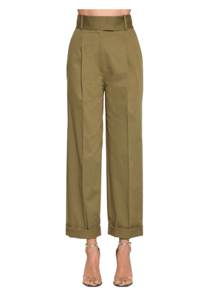 High Waisted Cotton Blend Pants