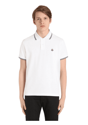 Logo Striped Cotton Piqué Polo Shirt