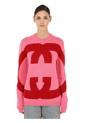 Logo Intarsia Wool Knit Sweater