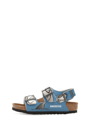 Shark Print Faux Leather Sandals