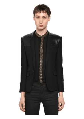 Wool Jacket W/ Leather Details
