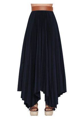 High Waist Pleated Cotton Twill Skirt