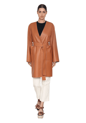 Wrap Nappa Leather Coat