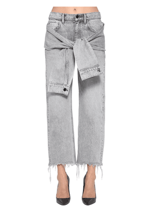 Self Tie Cropped Straight Leg Jeans