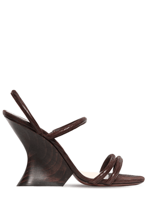 100mm Perfect Lizard Print Suede Wedges