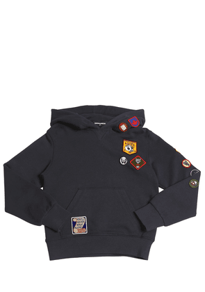 Cotton Sweatshirt Hoodie W/ Patches