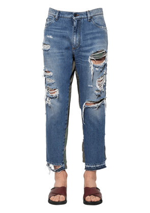 Distressed & Patchwork Cotton Jeans
