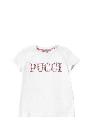 Embellished Logo Cotton Jersey T-shirt