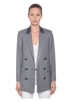 Check Double Breast Wool Blend Jacket