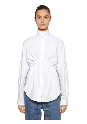 Poplin Shirt W/ Drawstring At Waist