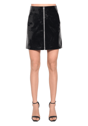 High Waist Patent Leather Mini Skirt