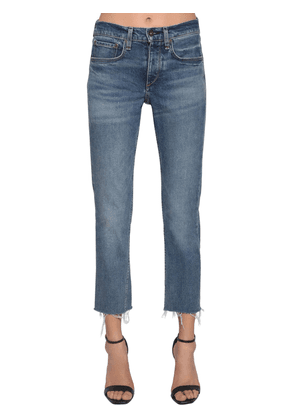 Raw Hem High Rise Cropped Skinny Jeans