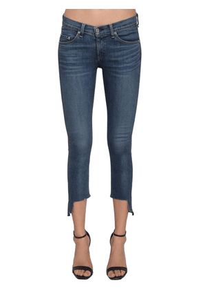 Raw Hem Low Rise Cropped Skinny Jeans