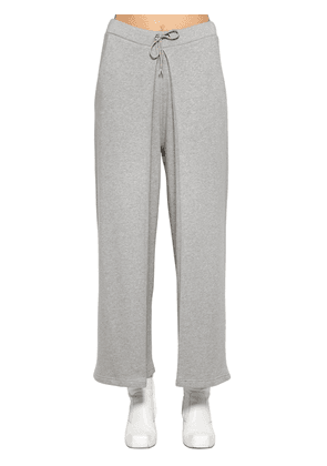 Fixed Pleats Cotton Jersey Sweatpants