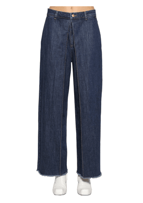 Fixed Pleats Raw Hem Wide Denim Jeans
