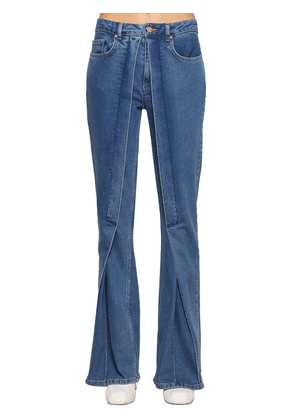 Fixed Pleats Flared Denim Jeans