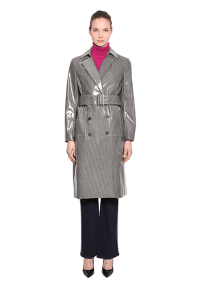 Coated Check Wool Blend Trench Coat