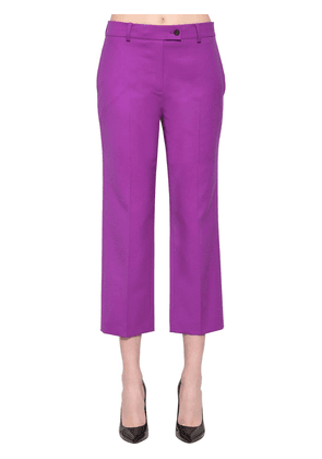 Cropped Stretch Wool Blend Pants