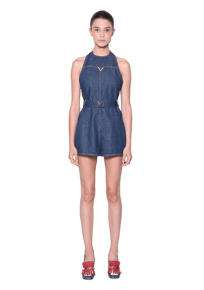 Cotton Denim Sleeveless Romper