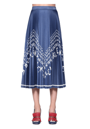 Logo Printed Pleated Jersey Skirt