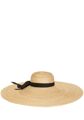 Grosgrain Wide Brim Straw Hat