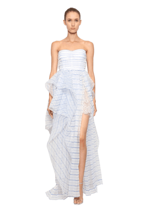 Striped Strapless Tulle Dress