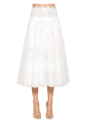 High Waist Lace & Tulle Pleated Skirt