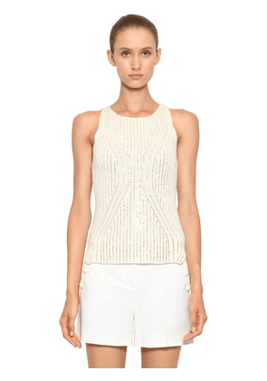 Crystal Embellished Ribbed Knit Top
