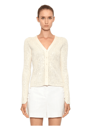 Crystal Embellished Ribbed Knit Cardigan