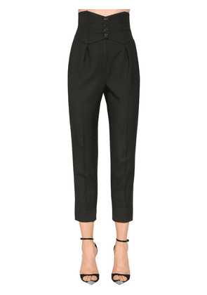 Wool Gabardine High Waist Pants