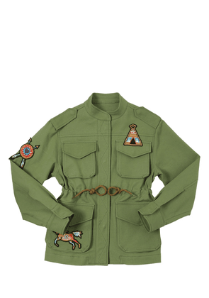 Cotton Gabardine Parka W/ Patches