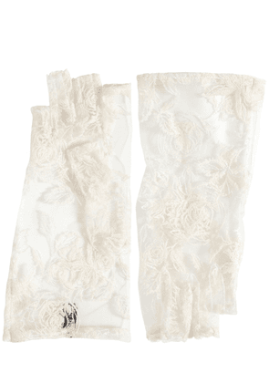 Short Embroidered Fingerless Gloves