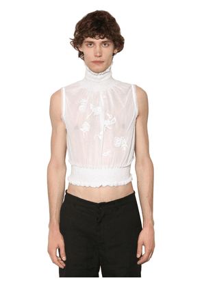 Embroidered Sleeveless Cotton Turtleneck