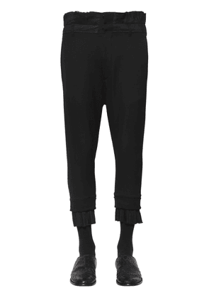 Cropped Wool Canvas Pants W/ Pleats
