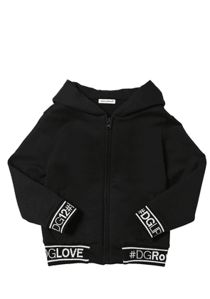 Logo Zip-up Cotton Sweatshirt Hoodie