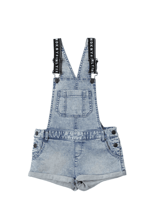 Stone Washed Stretch Denim Overalls