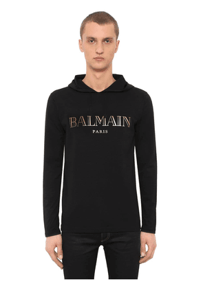 Printed Hooded Cotton Jersey T-shirt