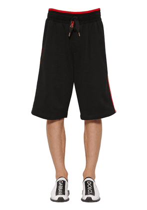 Cotton Jersey Shorts W/ Lettering Tape