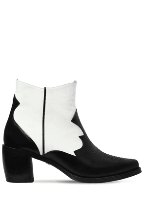 70mm Leather Ankle Cowboy Boots