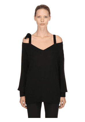 V Neck Wool Sweater W/ Velvet Straps