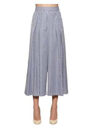 Striped Wide Leg Cotton Poplin Pants