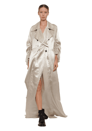 Long Double Breasted Satin Trench Coat